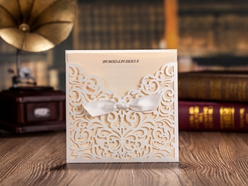 Beige Ribbon Invitation Cards (20 Pieces One Set)