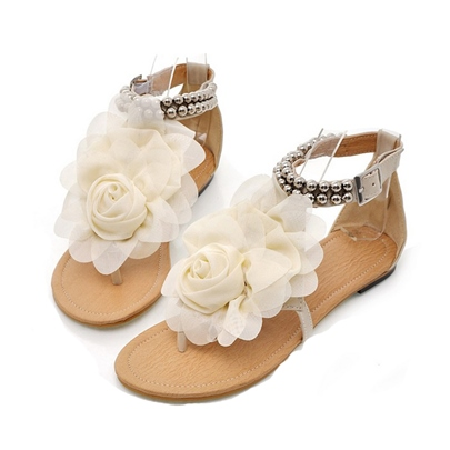 Flower Decorated Beading Women's Flat Sandals (Plus Size Available)