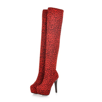 High Heel Platform Short Floss Over-the-Knee Leopard Boots