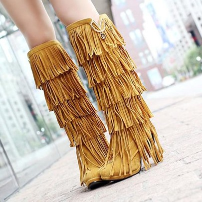 Round Toe Slip-On Knee-High Tassel Women's Boots