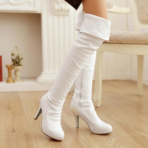 Zipper Short Floss Stiletto Heel Over-the-Knee Boots