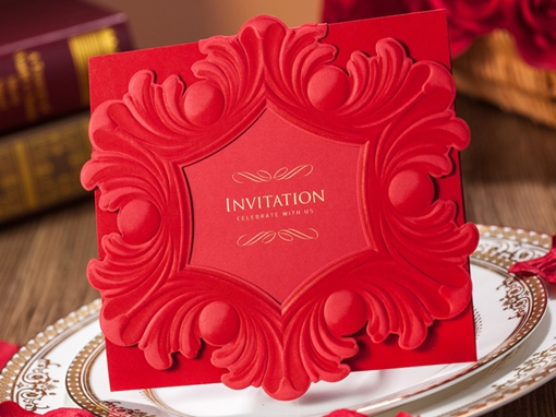 Rectangle Floral Wedding Invitation Cards (20 Pieces One Set)