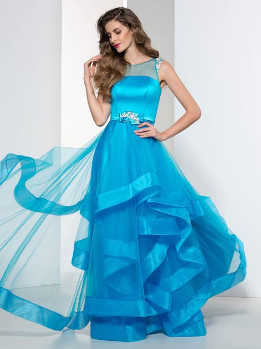 Straps Carcading Ruffles Beaded Prom Dress