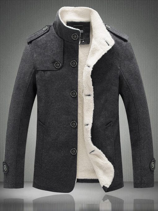 Men's Sherpa Lined Coat with Single Breasted