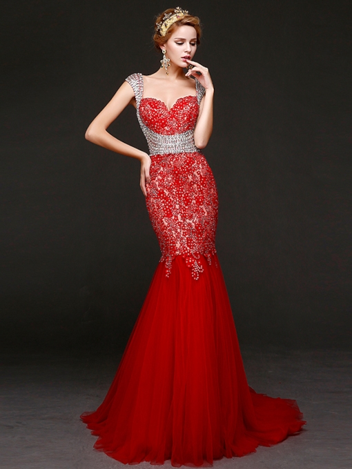 Lace Beaded Mermaid Evening Dress
