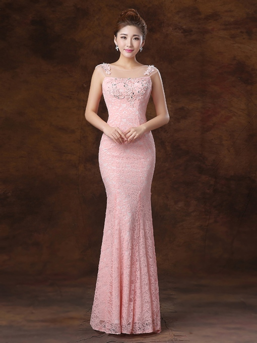 Scoop Appliques Sheath Long Evening Dres