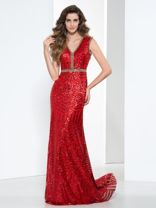 V-Neck Sheath Beaded Red Sequins Evening Dress