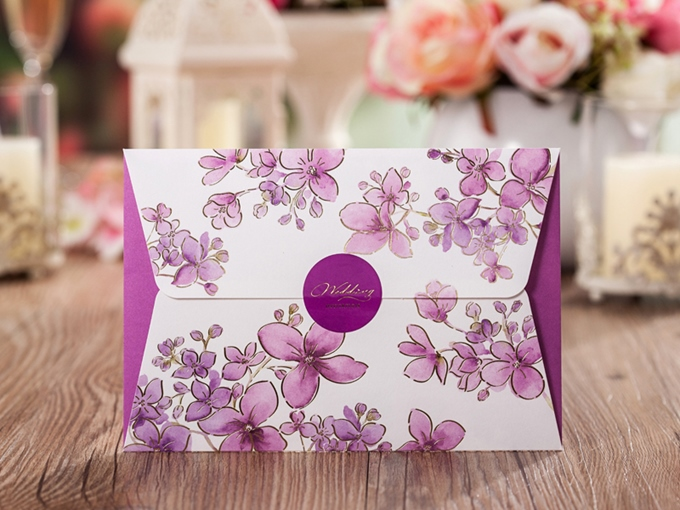 Purple Floral Print Invitation Cards (20 Pieces One Set)
