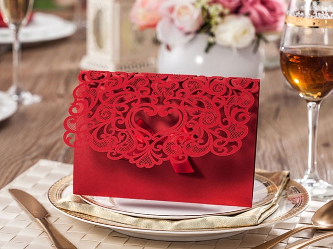 Red Ribbon Hollow-Out Wedding Invitation Cards (20 Pieces One Set)