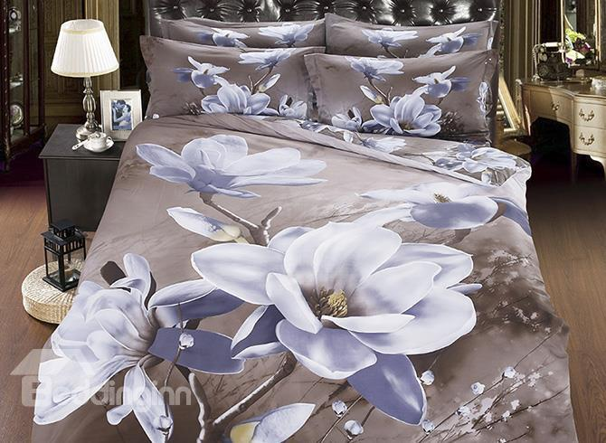 Vivid White Magnolia Printed Cotton 4-Piece 3D Bedding Sets/Duvet Covers