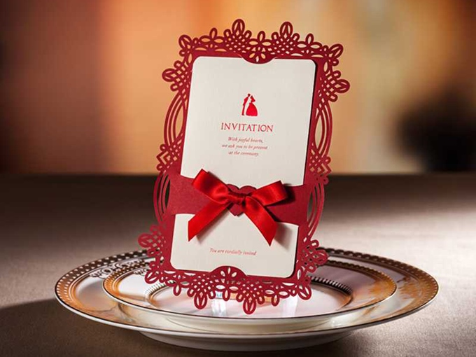 Hollow-Out Ribbon Invitation Cards (20 Pieces One Set)