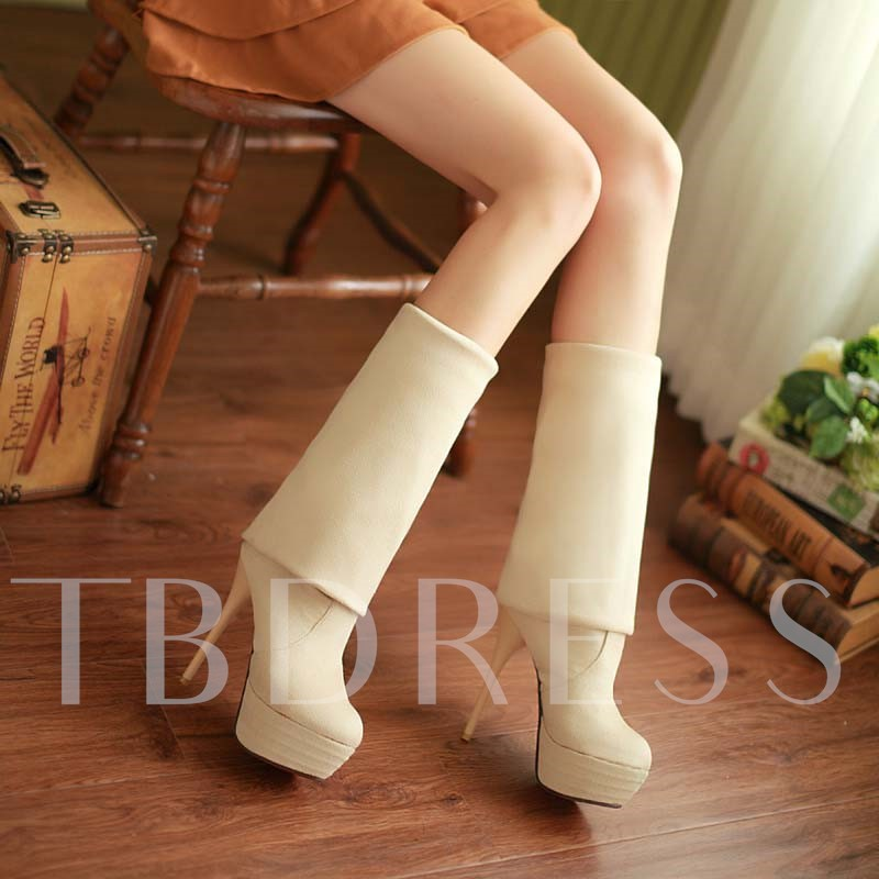 Round Toe Stiletto Heel Slip-On Platform Over-the-Knee Women's Boots