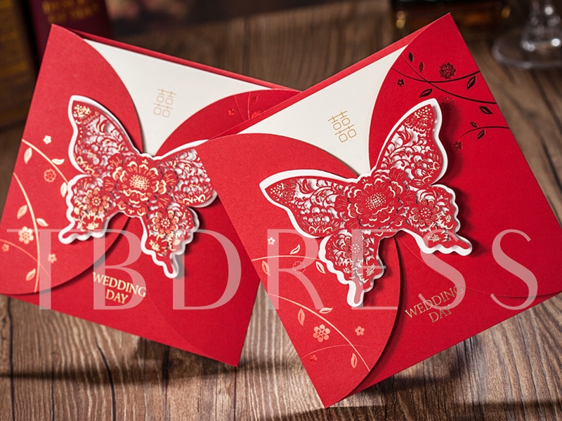 Butterflies Wedding Invitation Cards (20 Pieces One Set)