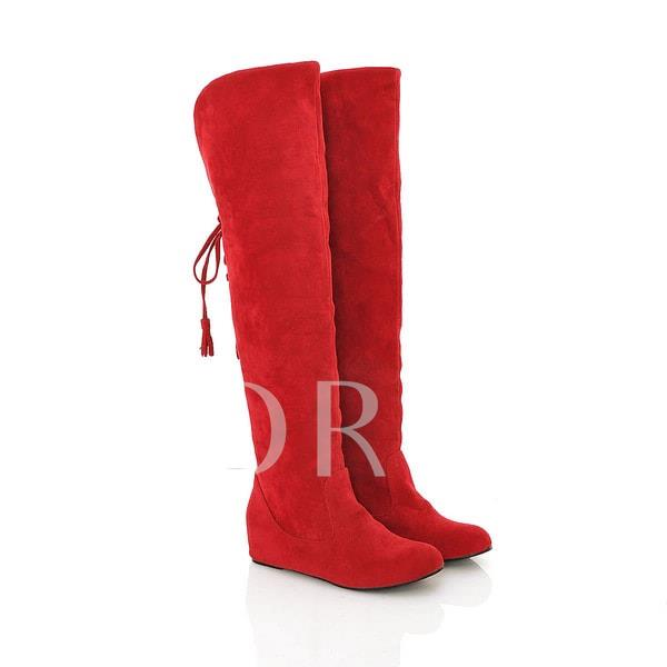 Round Toe Elevator Heel Lace-Up Back Over-the-Knee Women's Boots