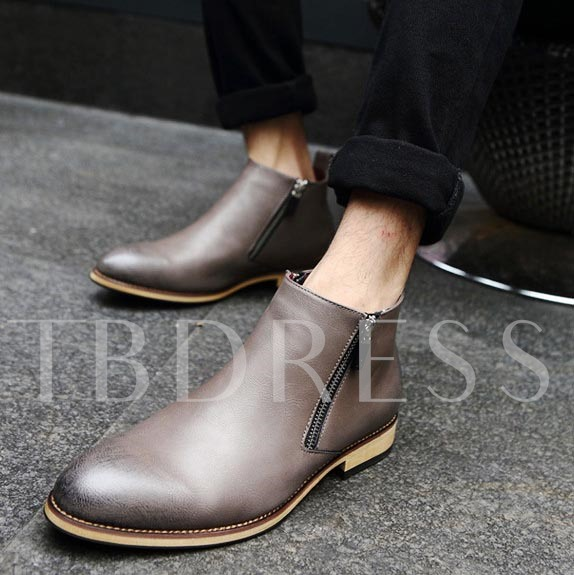 Square Heel Side Zipper Pointed Toe Ankle Men's Boots
