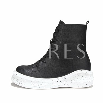 Round Toe Lace-Up Front Buckle Flat Heel Men's Ankle Boots