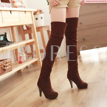 Stiletto Heel Short Floss Lace-Up Back Over-the-Knee Women's Boots