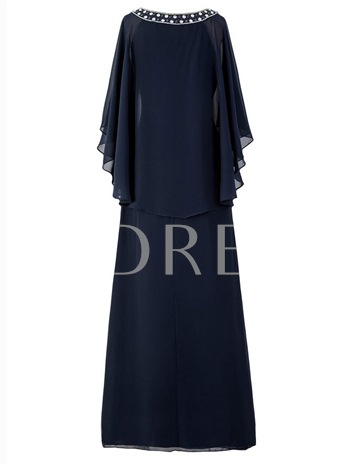 Scoop Neck Beading Chiffon Mother Of The Bride Dress