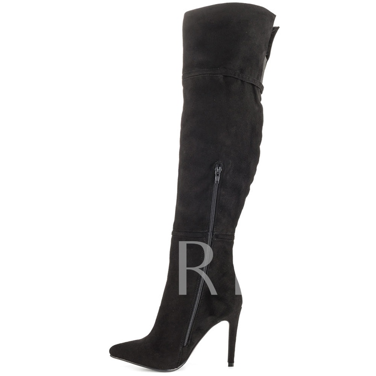 Side Zipper Pointed Toe Stiletto Heel Over-the-Knee Women's Boots