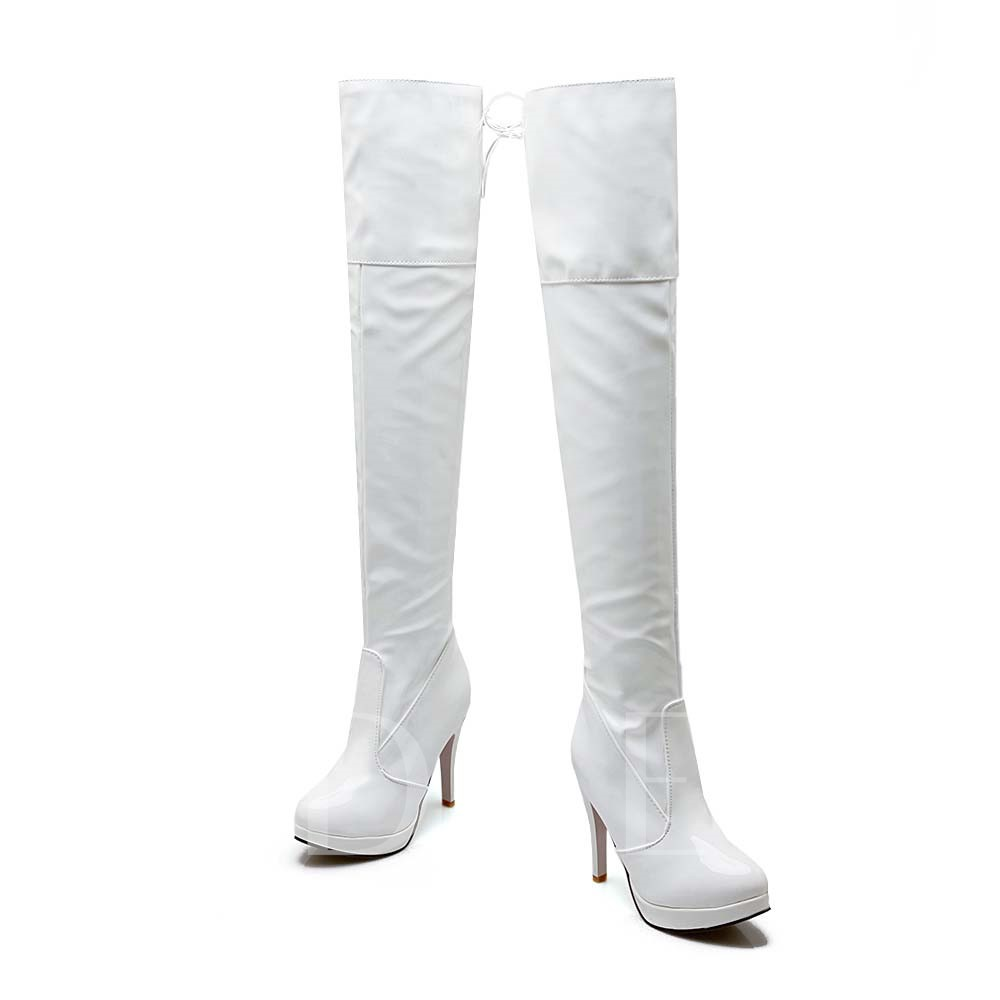 Stiletto Heel Lace-Up Back Over-the-Knee Round Toe Women's Boots