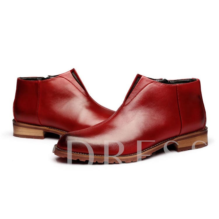 Square Heel Side Zipper Pointed Toe Men's Boots