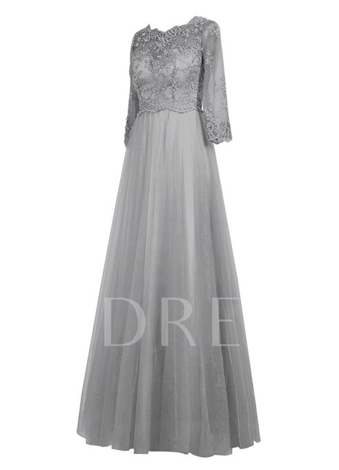 Scoop Neck Half Sleeve Lace Mother of the Groom Dress