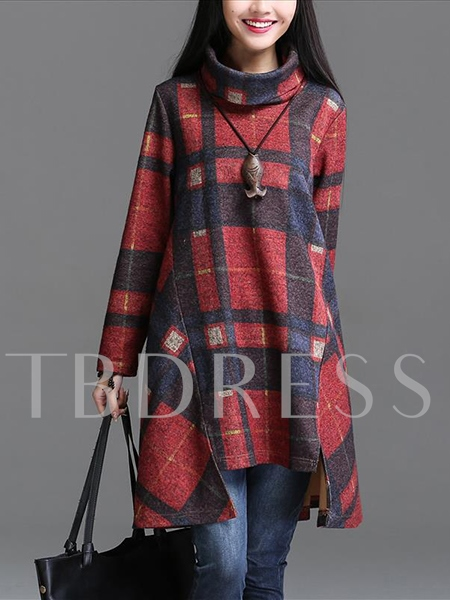 Turtleneck Plaid Patchwork Women's Long Sleeve Dress (Plus Size Available)