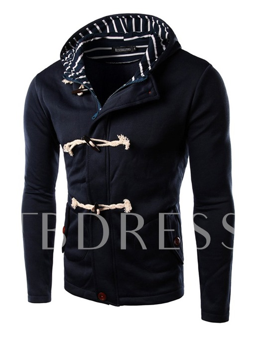 Horn Button Men's Casual Hoodie with Hat