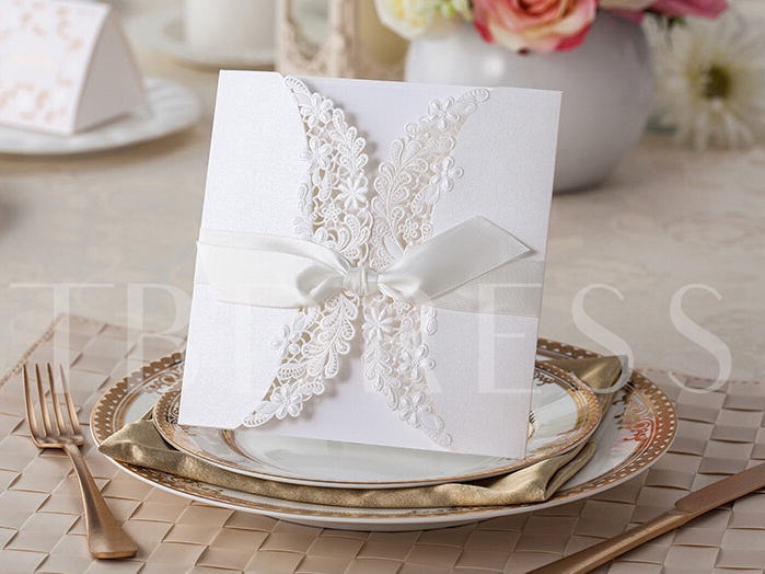 Lace Ribbon Wedding Invitation Cards (20 Pieces One Set)