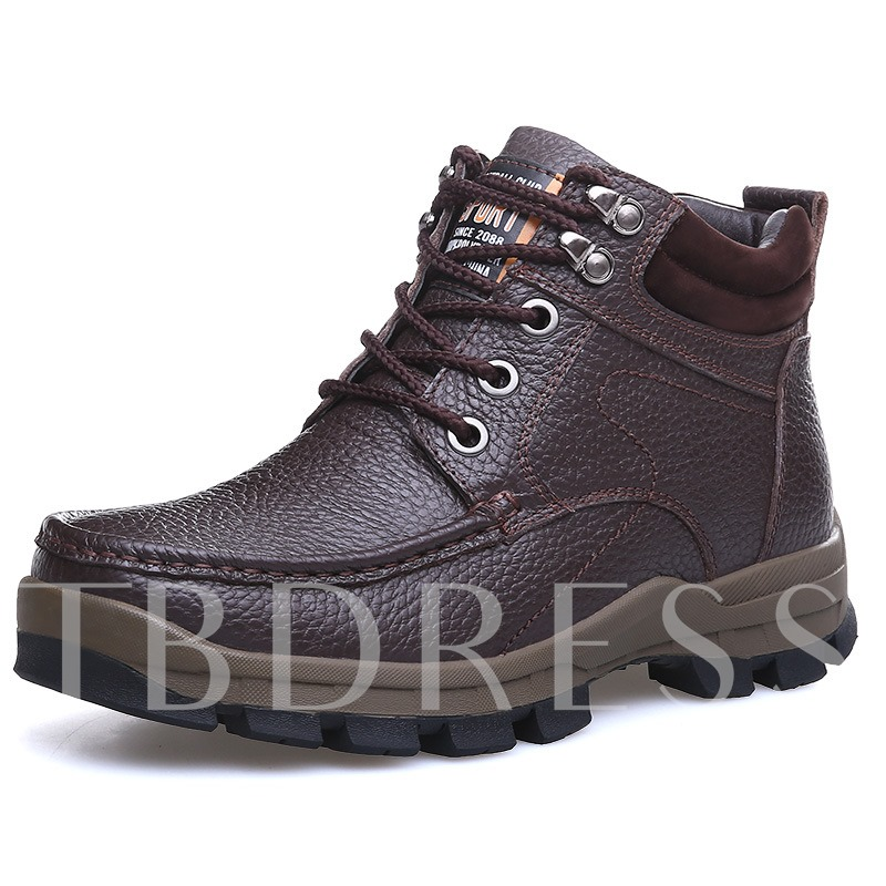 Round Toe Short Floss Square Heel Lace-Up Front Men's Ankle Boots