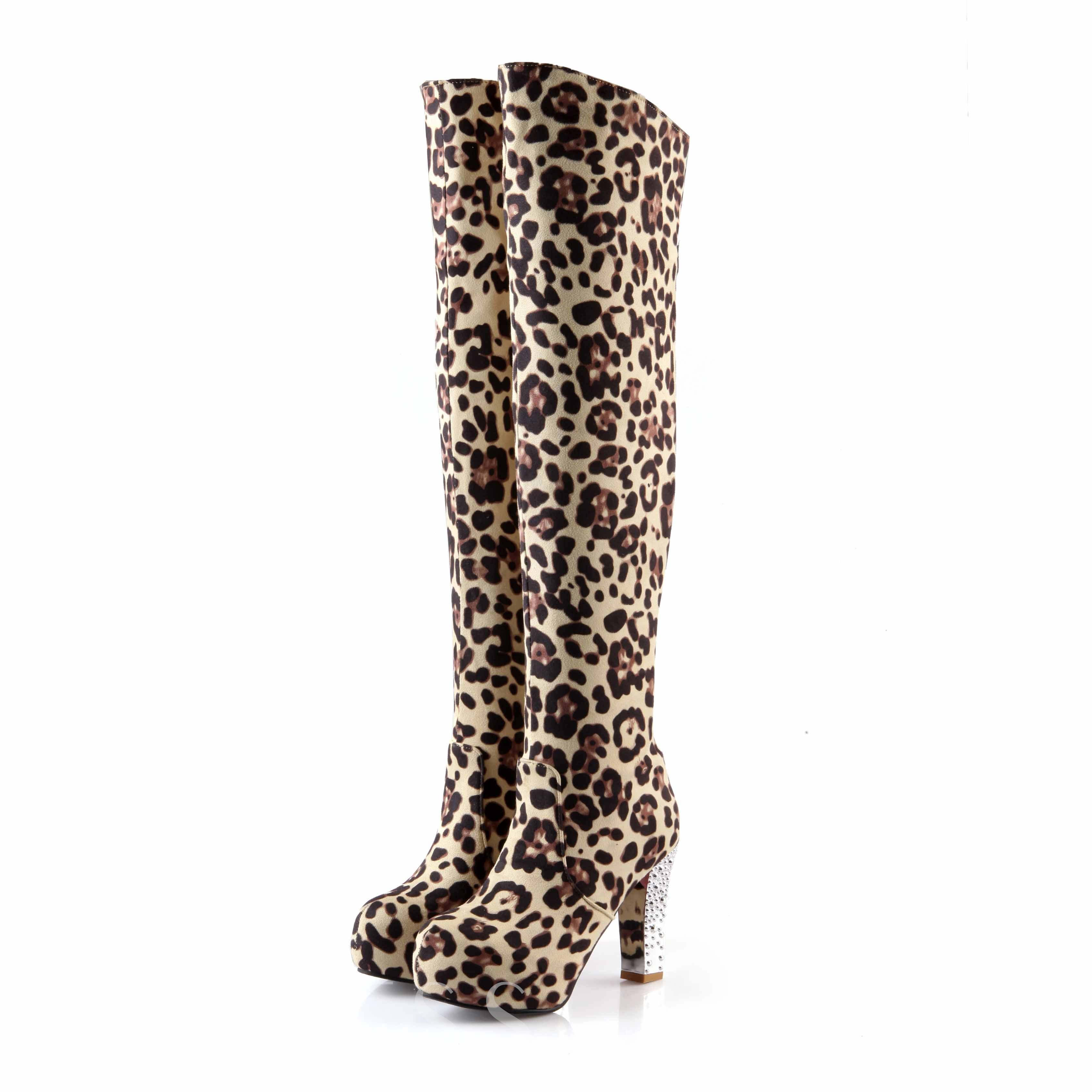 Platform Round Toe Leopard Slip-On Over-the-High Women's Boots
