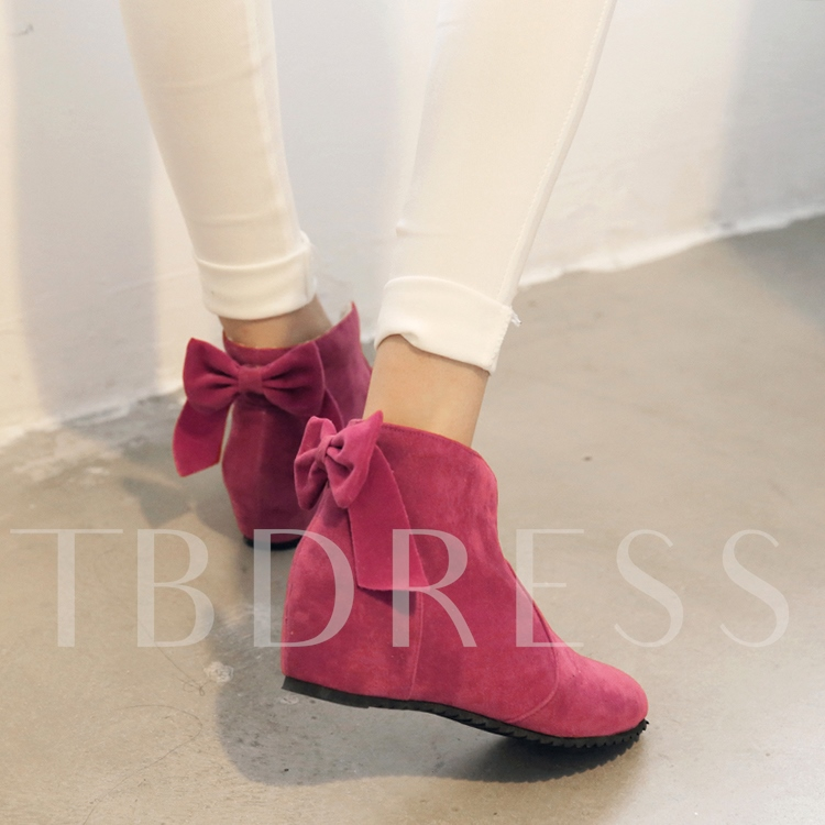 Short Floss Round Toe Lace-Up Back Bowtie Ankle Women's Boots