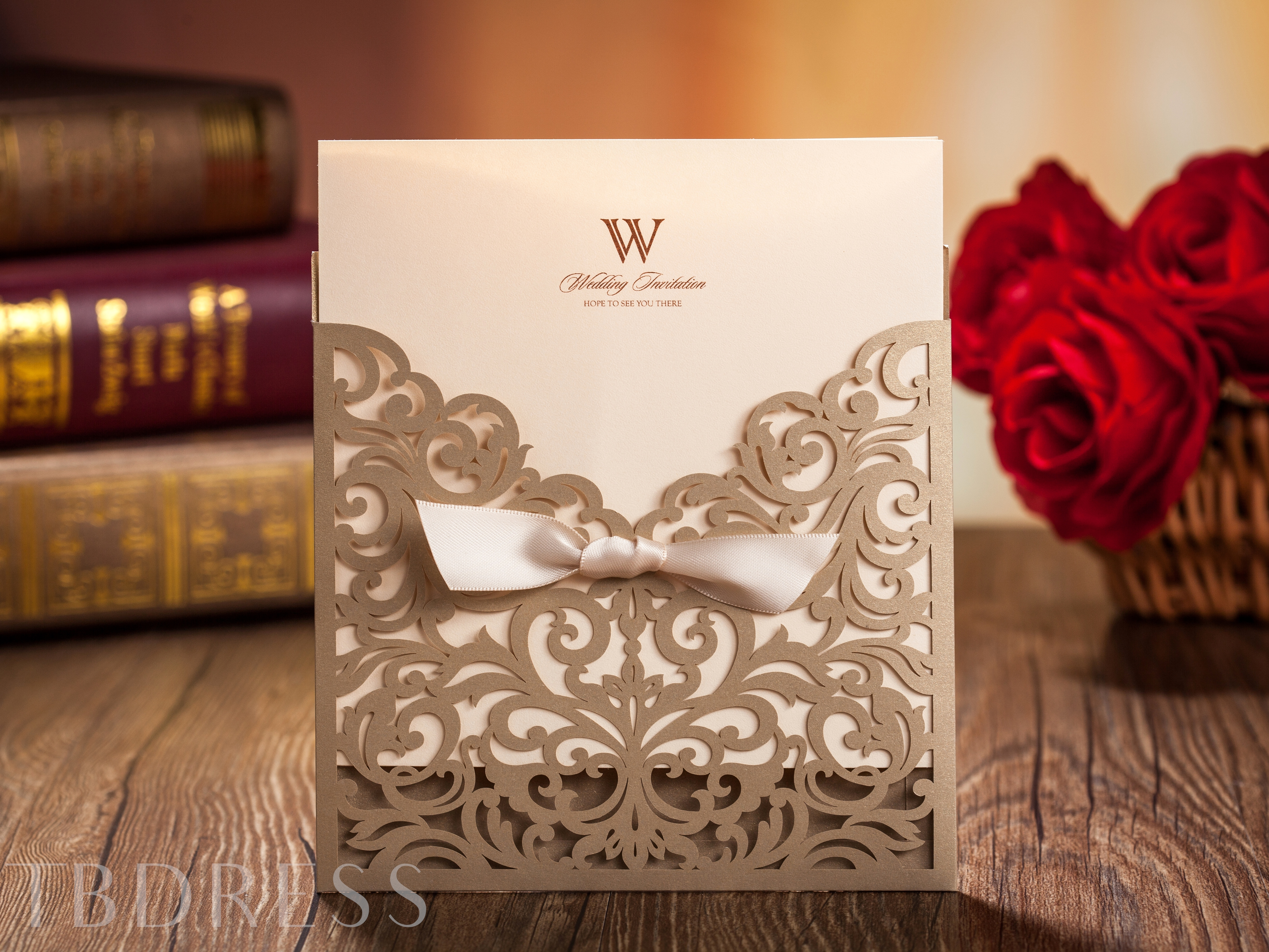 Wedding Invitation Cards with Ribbon Bowknot (20 Pieces One Set)