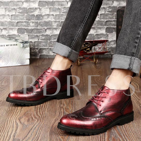 Round Toe Square Heel Cross Strap Ankle Men's Boots