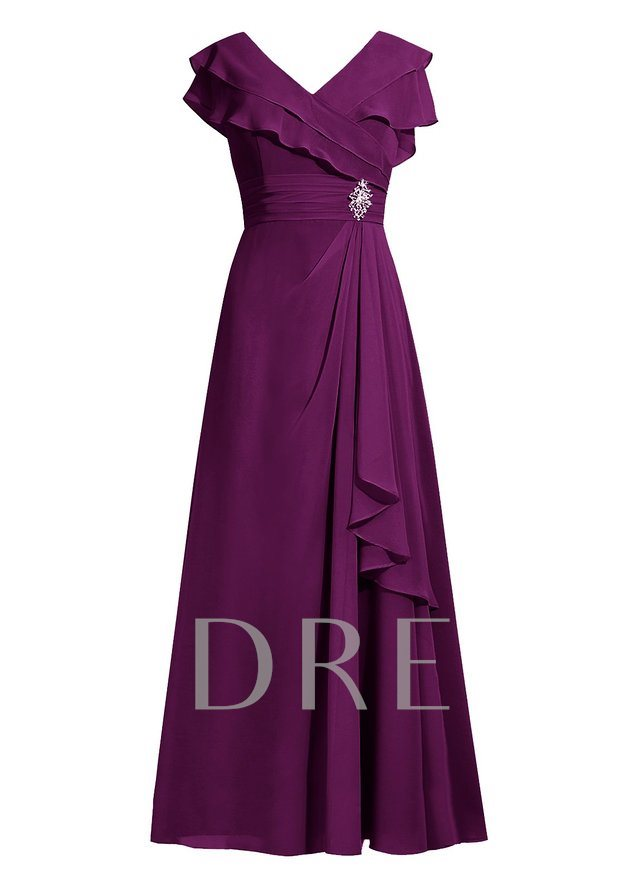 A-Line Tiered Cap Sleeve V-Neck Chiffon Plus Size Mother Of The Bride Dress
