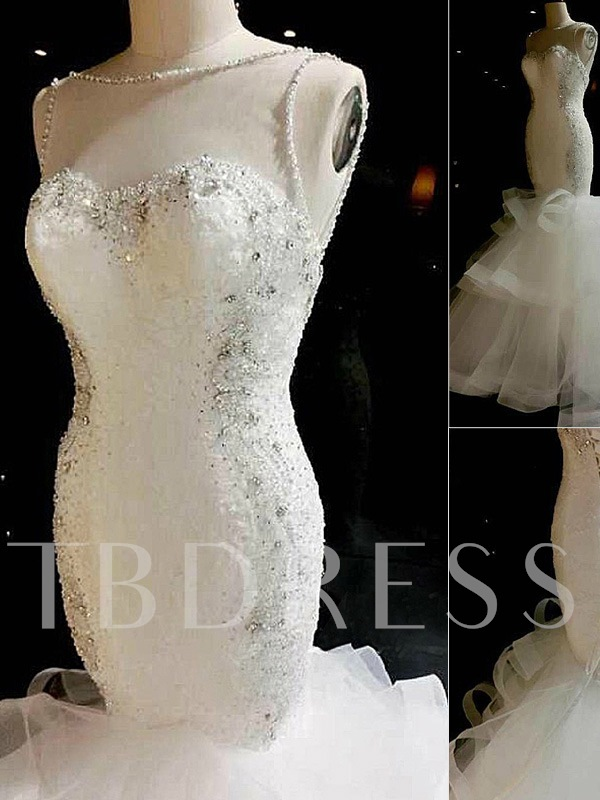 Illusion Neck Appliques Beaded Mermaid Wedding Dress