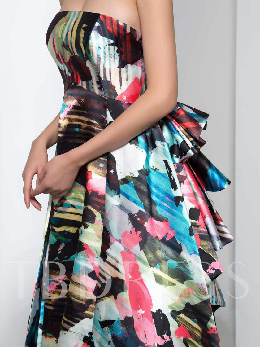A-Line Strapless Print Long Evening Dress
