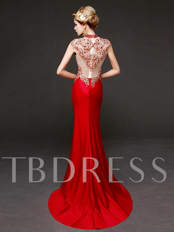 Mermaid High Neck Cap Sleeves Beading Rhinestone Evening Dress