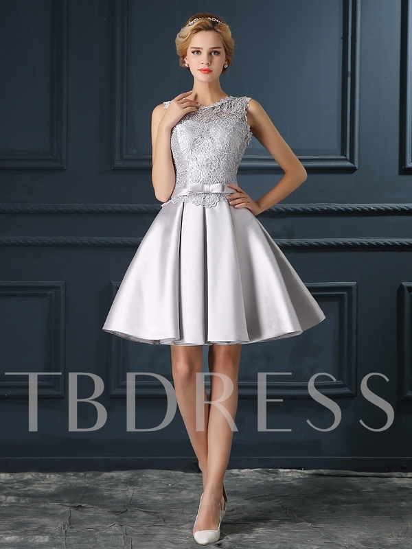 A-Line Round Neck Bowknot Lace Cocktail Dress