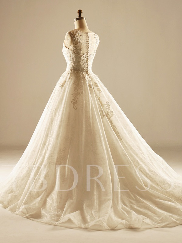 Appliques Lace Ball Gown Wedding Dress
