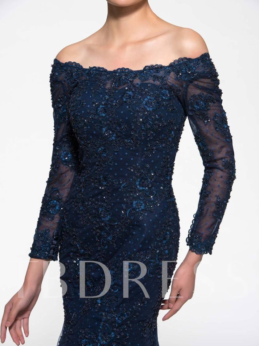 3/4 Length Sleeve Lace Mermaid Mother of the Bride Dress
