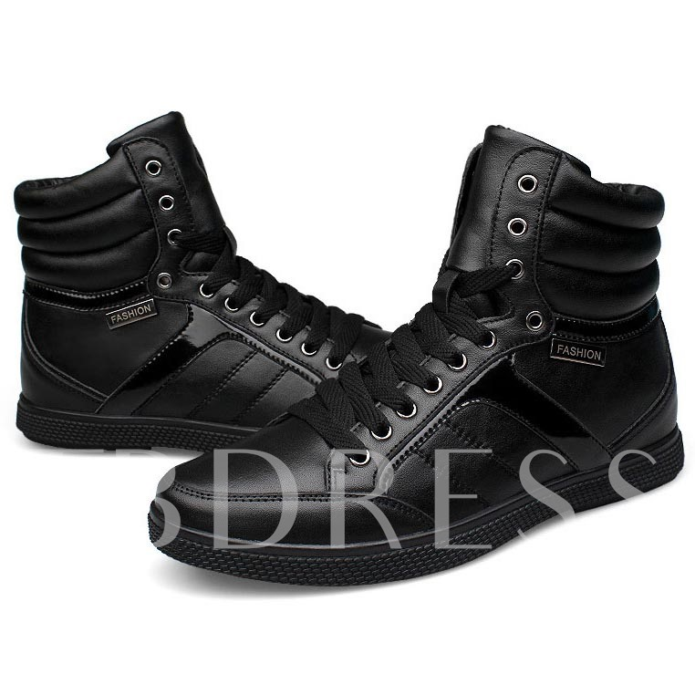 Round Toe Flat Heel Lace-Up Front Cross Strap Ankle Men's Sneakers