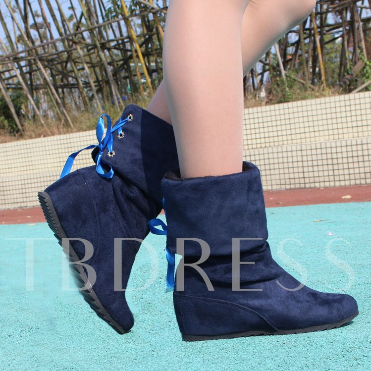 Round Toe Wedge Heel Short Floss Lace-Up Back Over-the-Knee Women's Boots