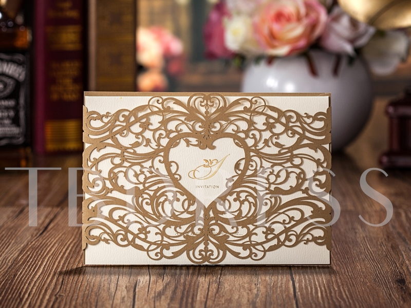 Two-Tone Hollow-Out Invitation Cards (20 Pieces One Set)