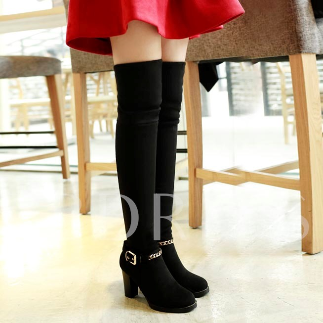 Chunky Heel Short Floss Round Toe Side Zipper Over-the-Knee Women's Boots
