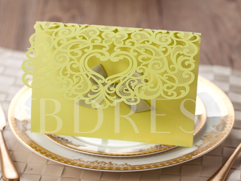 Yellow Rectangle Wedding Invitation Cards with Bowknot (20 Pieces One Set)
