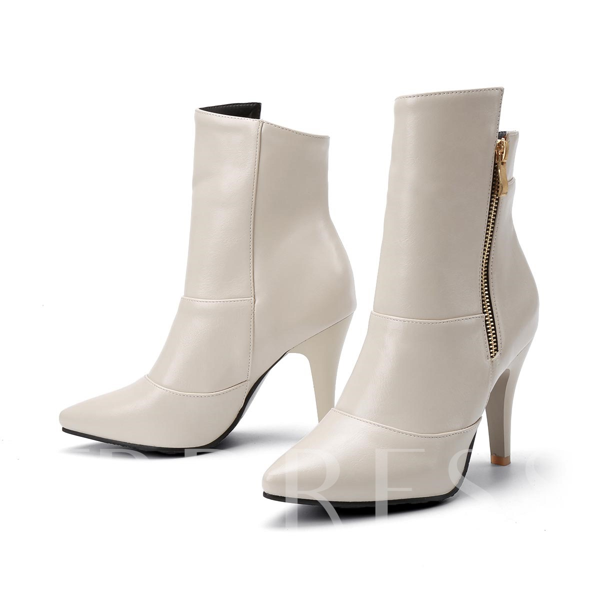 Pointed Toe Short Floss Side Zipper Women's Kitten Heel Ankle Boots