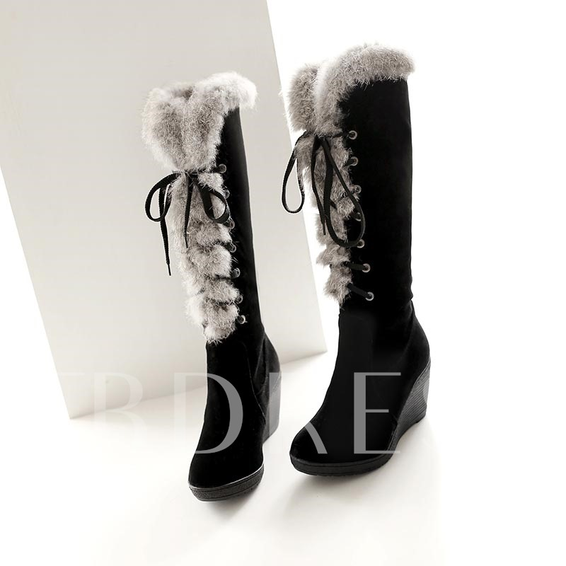 Buy Elevator Heel Lace-Up Front Plain Short Floss Knee-High Women's Boots, Winter, 11522055 for $31.99 in TBDress store