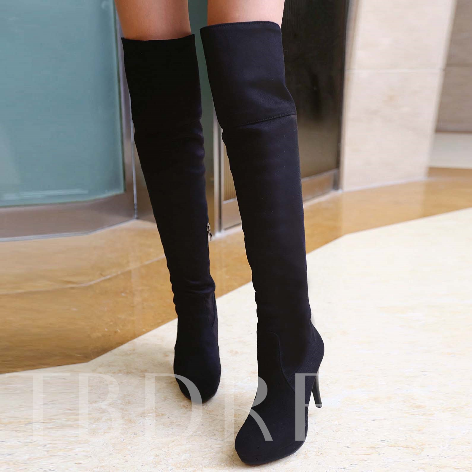 Stiletto Heel Short Floss Platform Round Toe Side Zipper Over-the-Knee Women's Boots