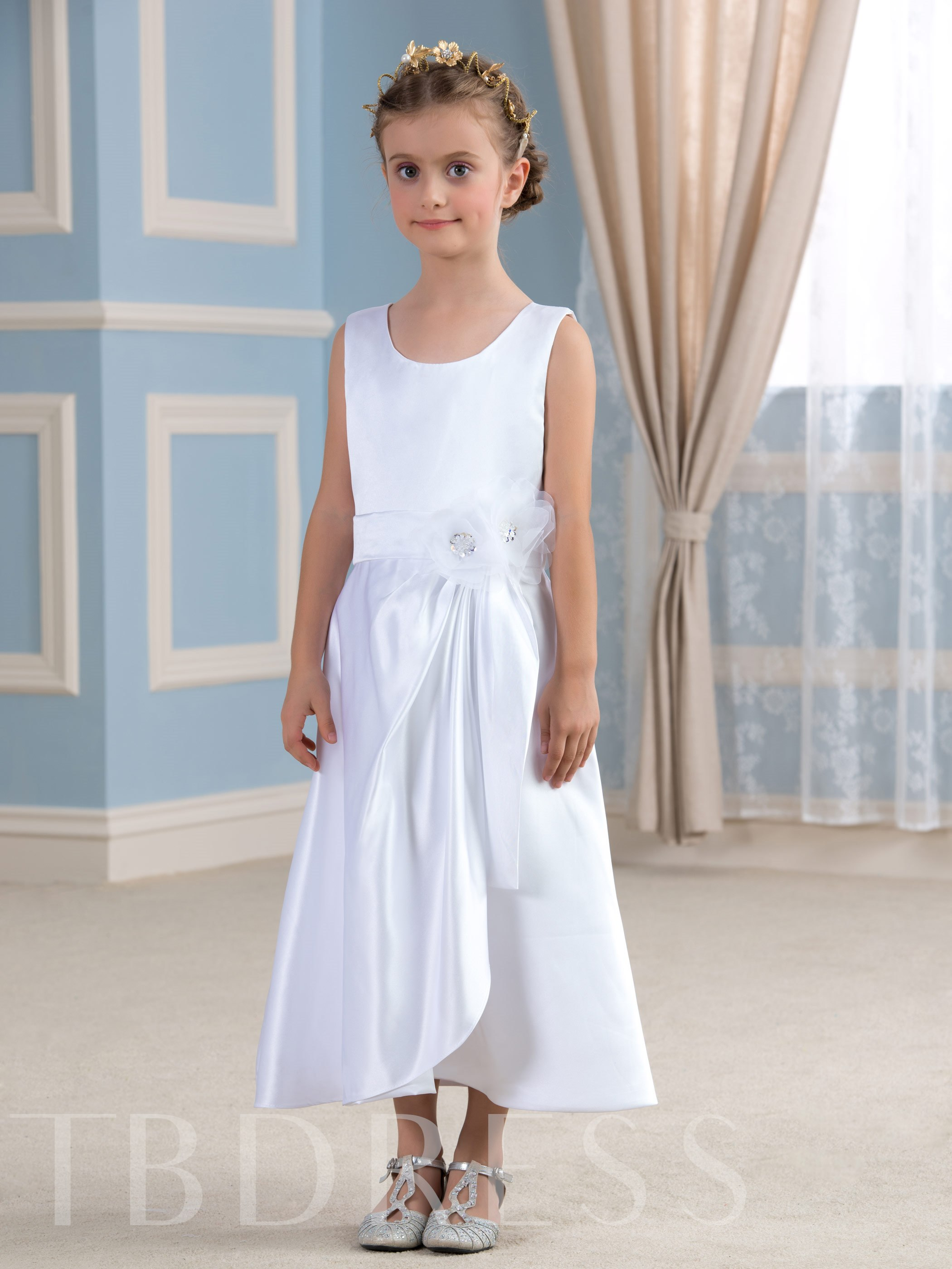 Image of A-Line Scoop Neck Tea-Length Flower Girl Dress